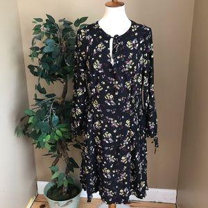 Torrid Black Floral Long Sleeve Dress 1X